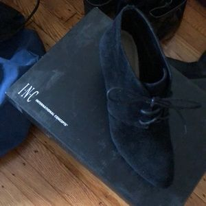 INC black suede ankle boots ( new )